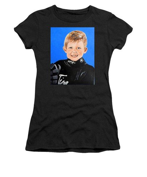 Women's T-Shirt (Junior Cut) featuring the painting Little Mister G by Betty-Anne McDonald