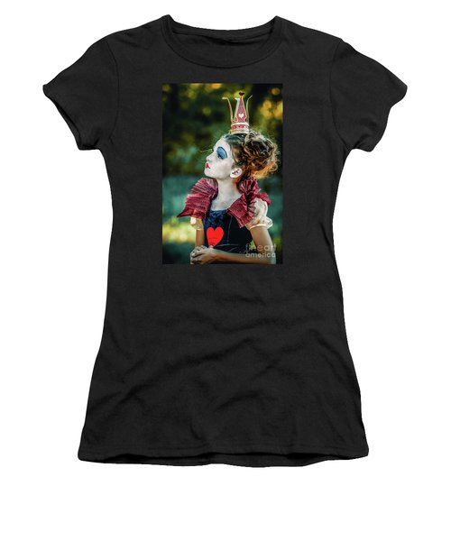 Women's T-Shirt (Athletic Fit) featuring the photograph Little Princess Of Hearts Alice In Wonderland by Dimitar Hristov