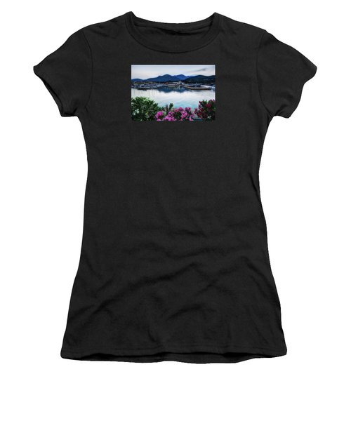 Loano Sunset Over Sea And Mountains With Flowers Women's T-Shirt (Athletic Fit)