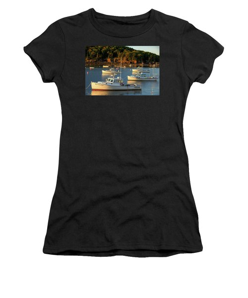 Women's T-Shirt (Junior Cut) featuring the photograph Lobster Boats At Bar Harbor Me  by Emmanuel Panagiotakis