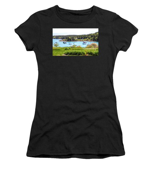 Women's T-Shirt (Athletic Fit) featuring the photograph Lobster Boats  by Betty Pauwels