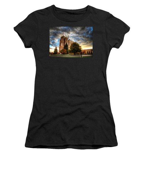 Logan Temple Cloud Backdrop Women's T-Shirt (Athletic Fit)