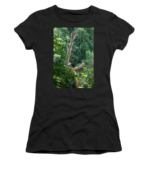 Logger Cutting Down Large, Tall Tree Women's T-Shirt