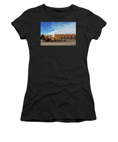 Logs And Plywood At Lumber Mill Women's T-Shirt (Athletic Fit)