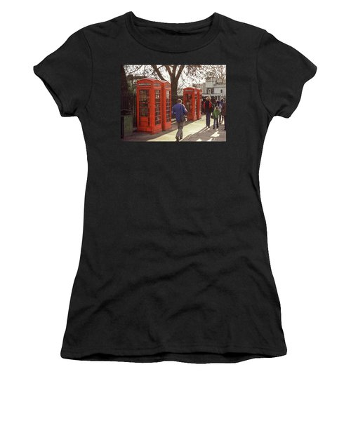 Women's T-Shirt featuring the photograph London Call Boxes by Jim Mathis