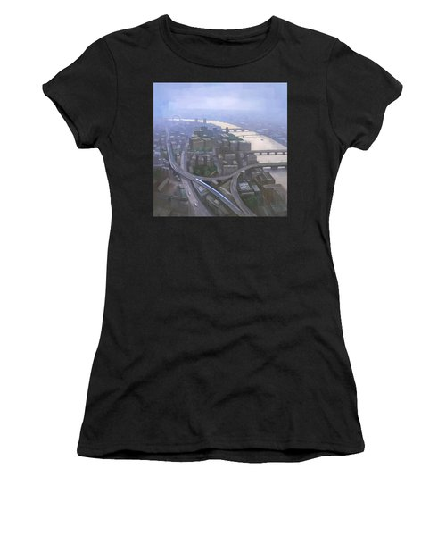 Women's T-Shirt featuring the painting London, Looking West From The Shard by Steve Mitchell