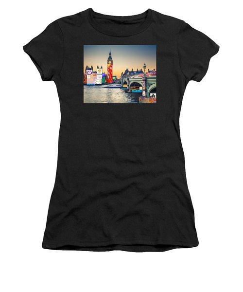 London Skyline Collage 3 Inc Big Ben, Westminster  Women's T-Shirt