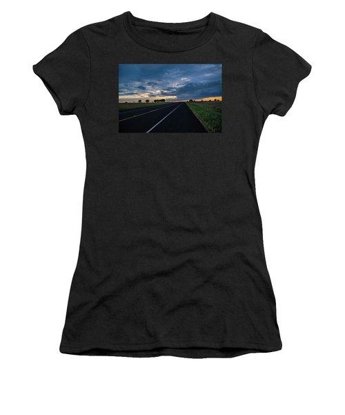 Lone Highway At Sunset Women's T-Shirt