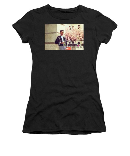 Women's T-Shirt (Athletic Fit) featuring the photograph Lonely Boy With White Rose 15042643 by Alexander Image