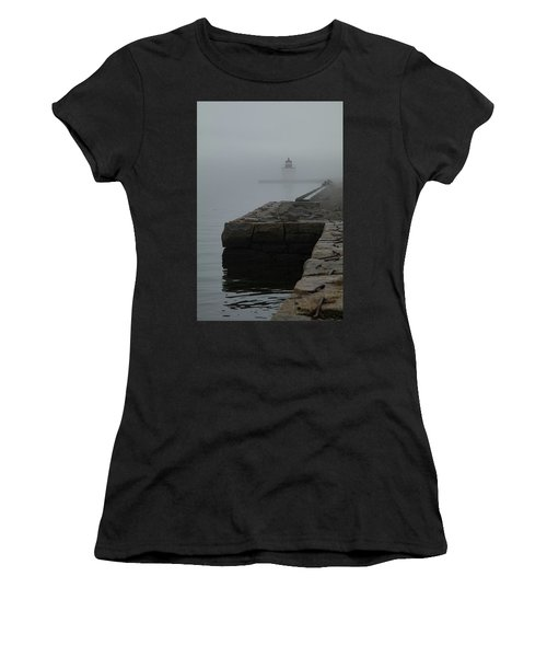 Women's T-Shirt (Athletic Fit) featuring the photograph Lonely Salem Lighthouse In Fog by Jeff Folger