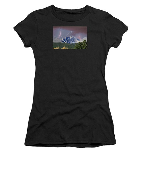 Longs Peak Lightning Storm Fine Art Photography Print Women's T-Shirt (Athletic Fit)