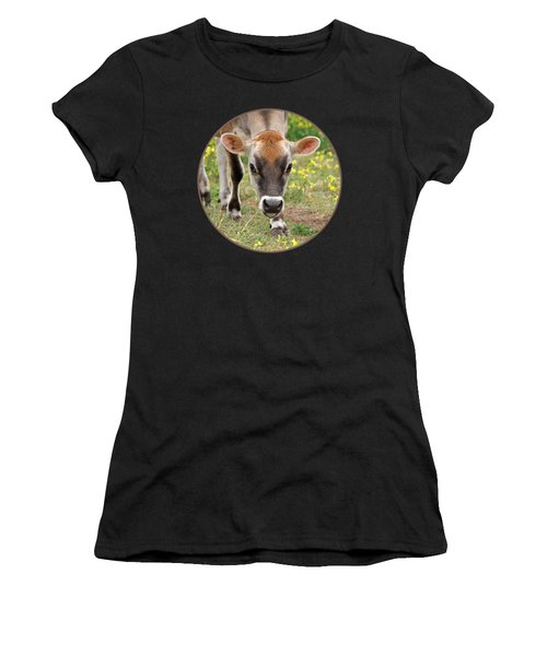 Look Into My Eyes - Jersey Cow - Square Women's T-Shirt (Athletic Fit)