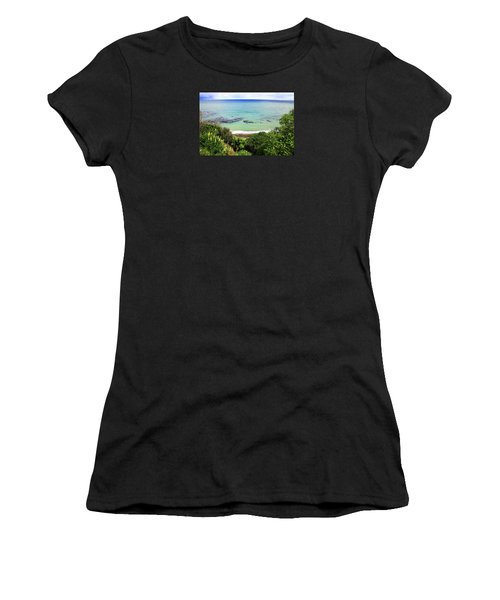 Women's T-Shirt (Athletic Fit) featuring the photograph Looking Down To The Beach by Nareeta Martin