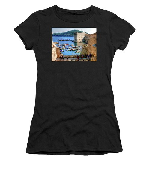 Looking Out Onto Dubrovnik Harbour Women's T-Shirt (Athletic Fit)