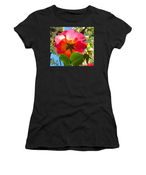 Looking Up At Rose And Tree Women's T-Shirt (Athletic Fit)
