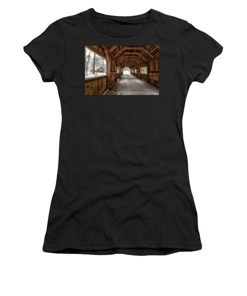 Women's T-Shirt featuring the photograph Loon Song Covered Bridge 1 by Heather Kenward