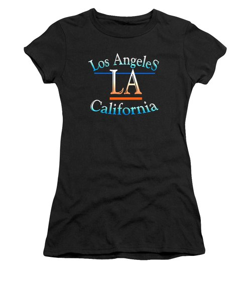 Los Angeles California Tshirt Design Women's T-Shirt (Junior Cut) by Art America Gallery Peter Potter