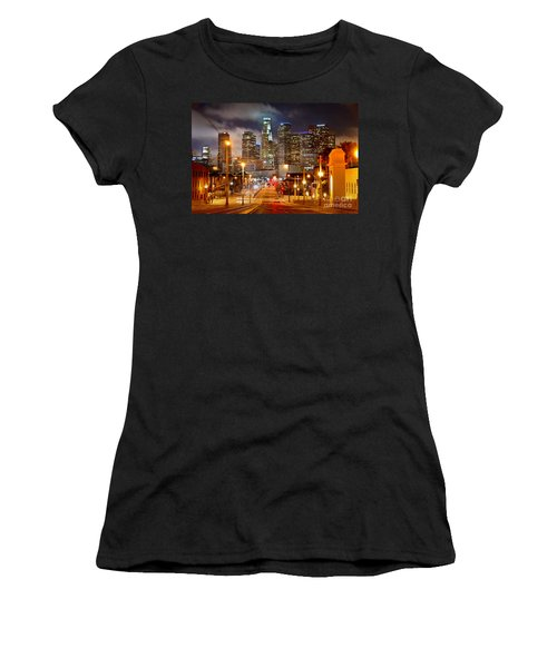 Los Angeles Skyline Night From The East Women's T-Shirt (Junior Cut) by Jon Holiday