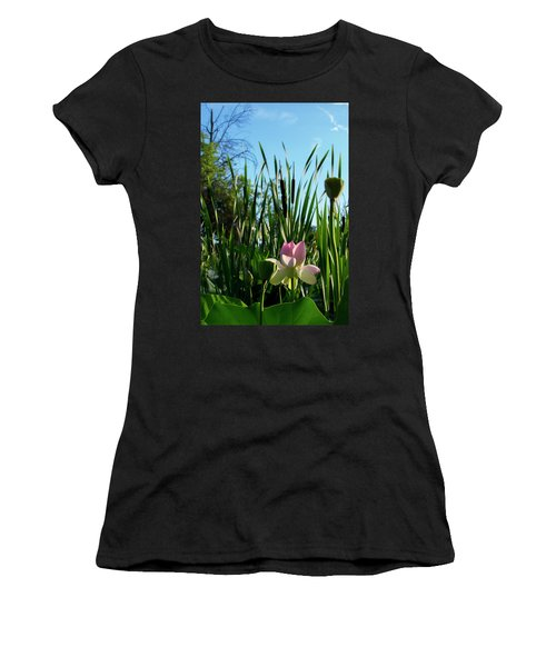 Women's T-Shirt (Athletic Fit) featuring the photograph Lotus Landscape 2 by Buddy Scott