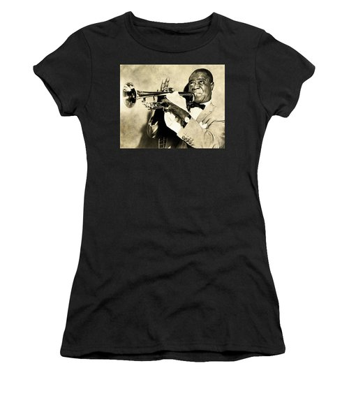 Women's T-Shirt (Athletic Fit) featuring the digital art Louis Satchmo Armstrong by Anthony Murphy