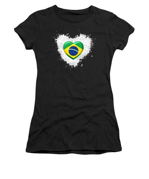 Women's T-Shirt featuring the digital art Love Brazil Heart by Alberto RuiZ