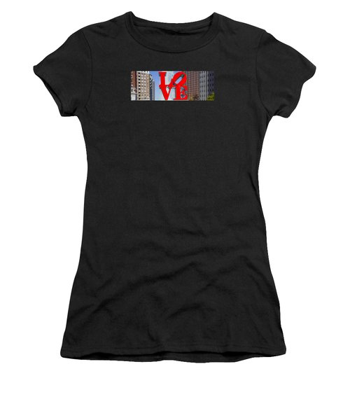Women's T-Shirt featuring the photograph Love In Philadelphia Pa by Bill Cannon