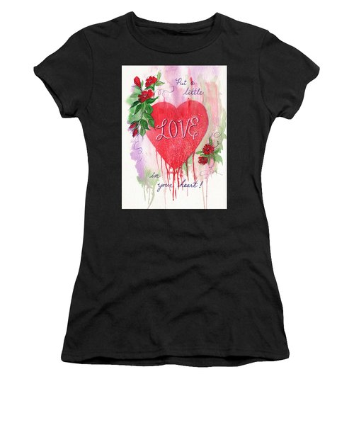 Women's T-Shirt (Junior Cut) featuring the painting Love In Your Heart by Marilyn Smith