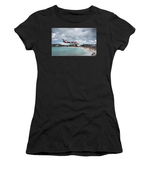 Low Landing At Sonesta Maho Beach Women's T-Shirt (Athletic Fit)