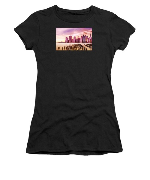 Lower Manhattan And Ferry Women's T-Shirt (Athletic Fit)
