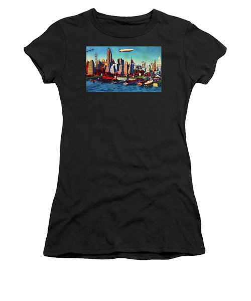 Lower Manhattan Skyline New York City Women's T-Shirt (Athletic Fit)
