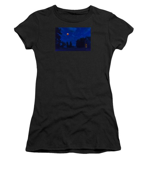 Women's T-Shirt (Junior Cut) featuring the photograph Lunar Eclipse At The Ivy Chapel by Stephen  Johnson
