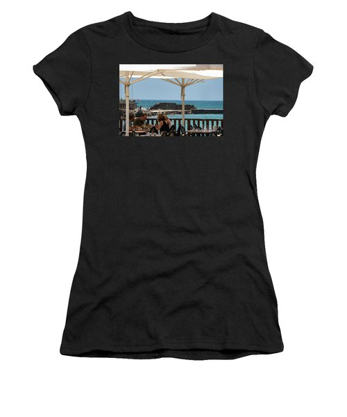 Women's T-Shirt featuring the photograph Lunch At The Mediterranean by Mae Wertz