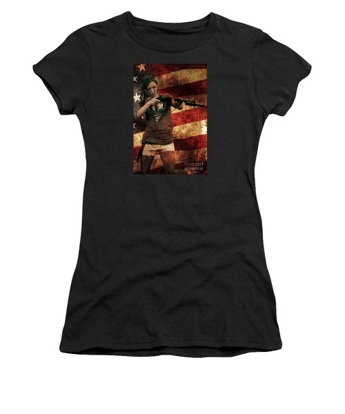 M1 Carbine On American Flag Women's T-Shirt