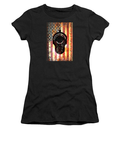 M1911 Colt 45 On Rusted American Flag Women's T-Shirt