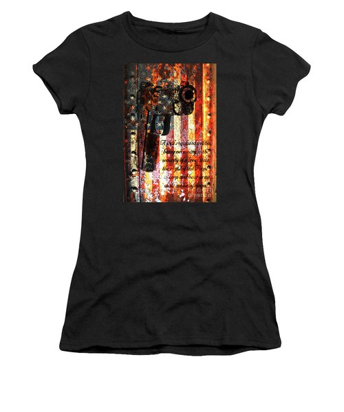 M1911 Pistol And Second Amendment On Rusted American Flag Women's T-Shirt