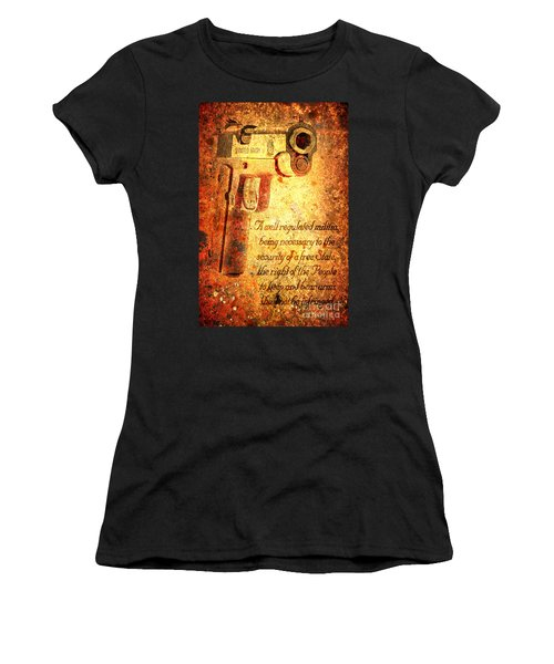 M1911 Pistol And Second Amendment On Rusted Overlay Women's T-Shirt