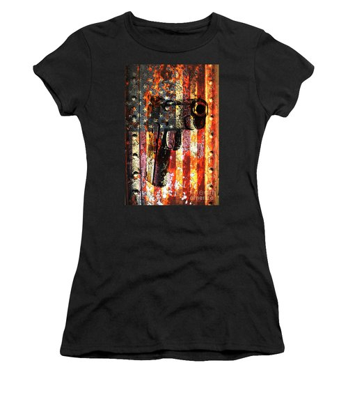 M1911 Silhouette On Rusted American Flag Women's T-Shirt
