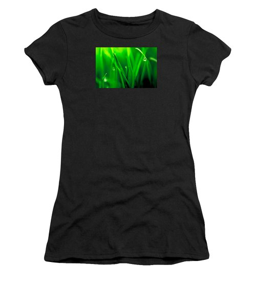 Macro Image Of Fresh Green Grass Women's T-Shirt (Athletic Fit)