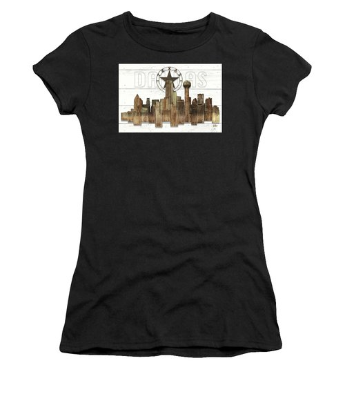 Made-to-order Dallas Texas Skyline Wall Art Women's T-Shirt (Athletic Fit)