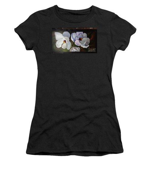 Magnolias White Flower Women's T-Shirt (Athletic Fit)