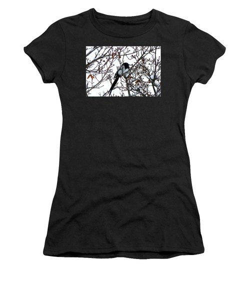 Women's T-Shirt (Junior Cut) featuring the photograph Magpie In A Snowstorm by Will Borden