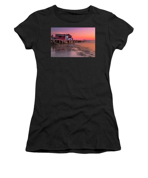 Maine Coastal Sunset At Dicks Lobsters - Crabs Shack Women's T-Shirt