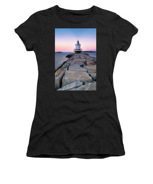 Maine Coastal Sunset Over The Spring Breakwater Lighthouse Women's T-Shirt