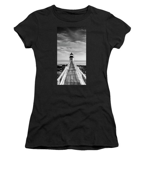 Women's T-Shirt featuring the photograph Maine Marshall Point Lighthouse Vertical Panorama In Black And White by Ranjay Mitra