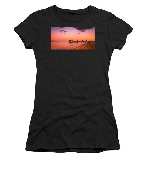 Maine Old Orchard Beach Pier At Sunset Women's T-Shirt