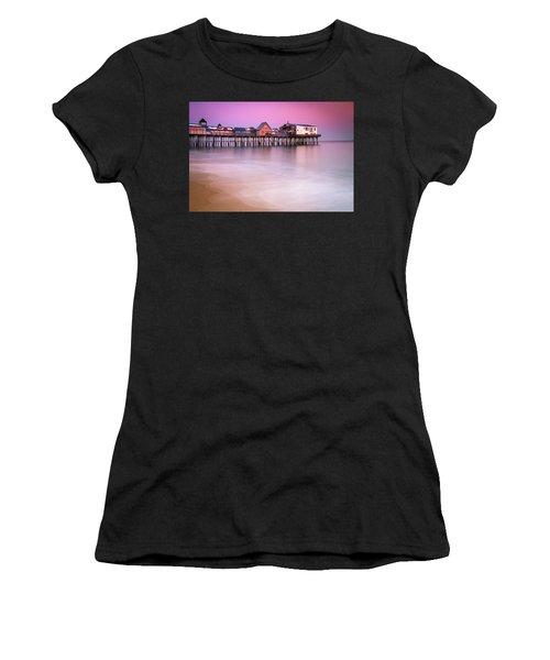 Maine Old Orchard Beach Pier Sunset  Women's T-Shirt
