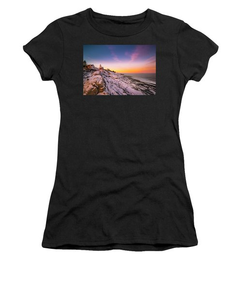 Maine Pemaquid Lighthouse In Winter Snow Women's T-Shirt