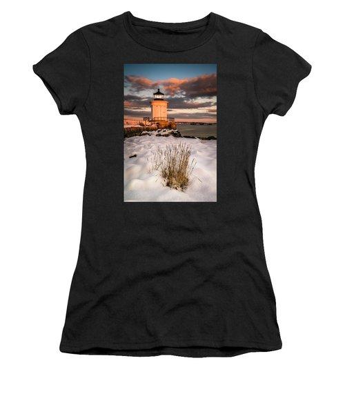 Maine Portland Bug Light Lighthouse Sunset  Women's T-Shirt
