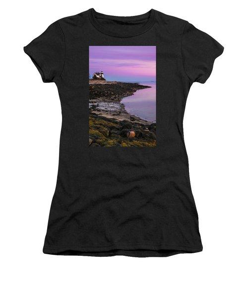 Maine Prospect Harbor Lighthouse Sunset In Winter Women's T-Shirt