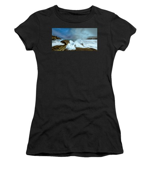 Maine Rocky Coast During Storm At Two Lights Women's T-Shirt
